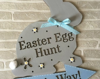 Easter Egg Hunt Wooden Sign Plaque Easter Bunny