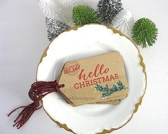 Hello Christmas Gift Tags~set of 6~Holly Red~Emerald Green~Dec 24th~Pretty Packaging~Gift Topper