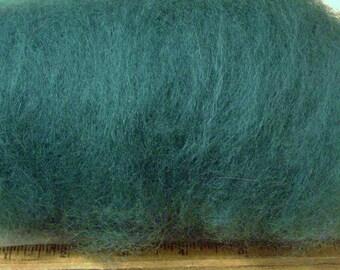 dark GREEN, Carded Sheep WOOL batt, ROVING, felting, spinning