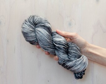 Hand dyed yarn, merino yarn, nylon yarn, dk yarn, hand dyed dk yarn, variegated yarn, grey yarn, tonal yarn, grey dyed yarn,