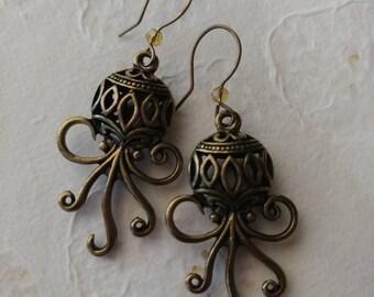Octopus earrings. Golden crystal beads.