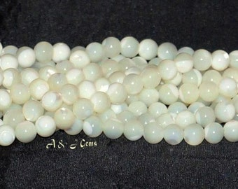 "Mother of Pearl Shell 6.5-7mm Round Beads - 15.75"" Strand"