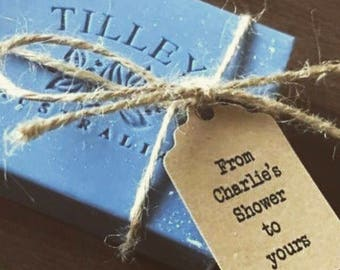 """50 x  """"From My Shower to yours"""" personalized Kraft Paper Tags"""