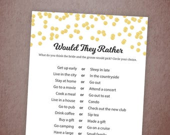 Would They Rather, Gold Confetti Bridal Shower Game Printable, Wedding Shower Game, Who knows the Bride Best, Instant Download, A001