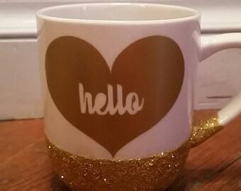 Glitter Dipped Hello Mug