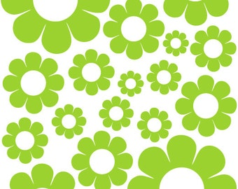 38 Lime Green Daisy Vinyl Shaped Bedroom Wall Decals Stickers Daisies Teen Kids Baby Nursery Dorm Room Removable Custom Made Easy to Install