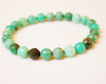 Chrysoprase Bracelet / Chrysoprase / Chrysophrase / Blue Green / Lagoon / Aqua / Robins Egg Blue / Genuine / Faceted / Stunning / Simple