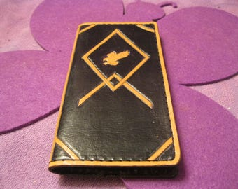 BLACK LEATHER  Rope PHONE Wallet with Eagle
