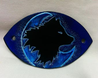 LEATHER BARRETTE Wolf and moon, blue, etched and hand painted Decor
