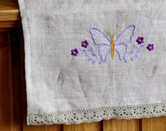 Natural Linen Hand Towel, Embroidered with Lace, Handmade, Tea Towel, Grey, 100% Pure Linen, Guest Towel, Eco-friendly Gift