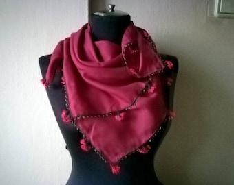 Magenta Pink vintage scarf
