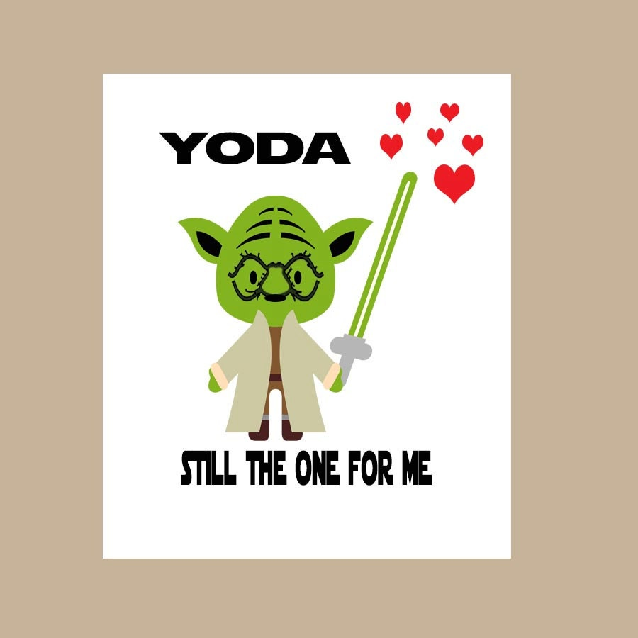 Star Wars Valentine Card Yoda One For Me Card Star Wars
