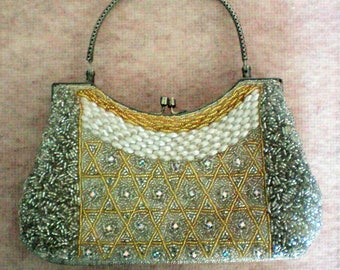 Beaded and Rhinestone Evening Bag Purse - 5830