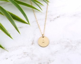 Personalized Initial Disc Necklace, Gold Disc Necklace, Silver Disc Necklace, Rose Gold Disc Necklace, Gift for her, Best Friend Gift