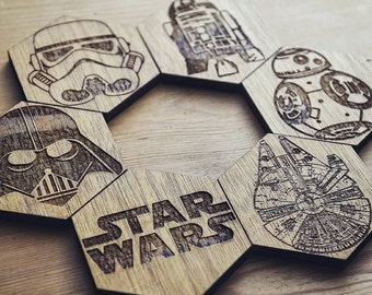 Star Wars Inspired Set of 6 Hexagonal Coasters