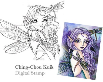 Purple Dragonfly - Digital Stamp Instant Download / Fantasy Art by Ching-Chou Kuik