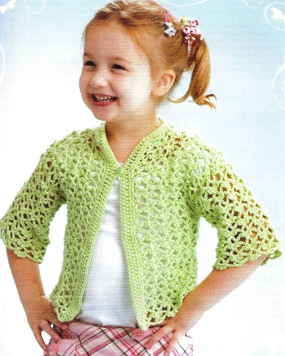 Crochet Lacey Cardigan Vintage Pattern Toddler