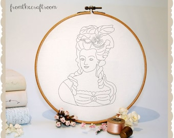 Marie Antoinette HAND EMBROIDERY PATTERN pdf Instant download