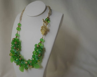 A stunning green glass bead statement necklace