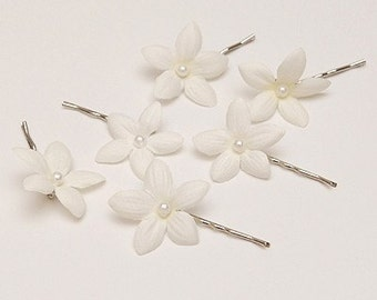 6 stephanotis hair flower bobby pins off white ivory, bridal bridesmaid hair pins hairpieces