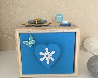 Blue wooden chest