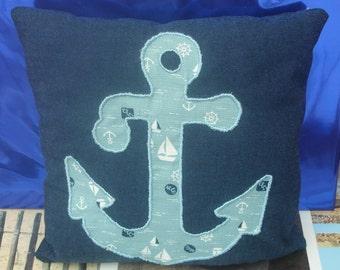 Handmade decorative anchor appliqué cushion