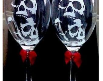 Personalised glass engraved skulls  wine glasses custom gift