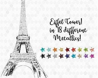 Eiffel Tower Clipart, Eiffel Tower Digital, Eiffel Tower Metallic, Paris Clipart, Travel Clipart, Decal for Shops, Glitter, Commercial Use