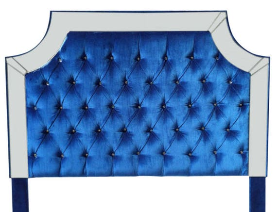 Azul Royal Velvet Tufted cabecera cabecera tapizada con