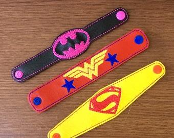 Girl super hero vinyl snap bracelets (set of 3)