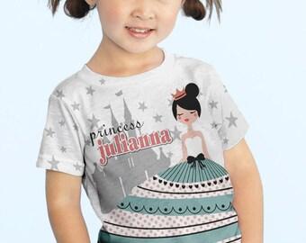 Girls Princess Shirt, Personalized Princess Birthday Party T-Shirt, Princess Castle Birthday Shirt
