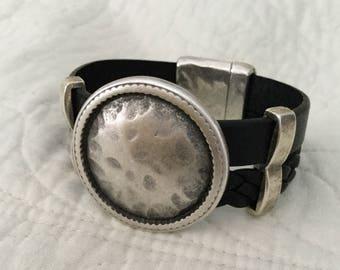 Black Cuff Bracelet with Antique Silver