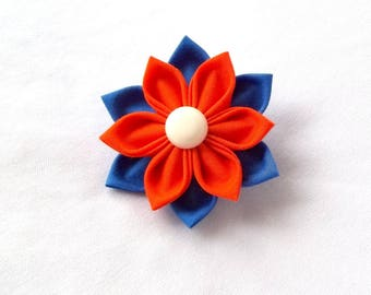 Orange and Royal Blue Folded Fabric Origami Hair Flower Tsumami Kanzashi Fiber Art