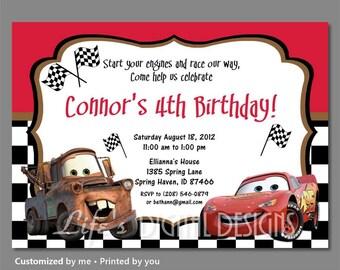 Cars Birthday Invitations Cars Invitation Lightning McQueen