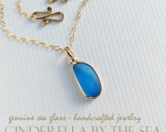Genuine Sea Glass Handmade Necklace Cornflower Blue LBI Sea Glass  14kt Gold-Filled Beach Glass Handmade Jewelry Seaglass Necklace