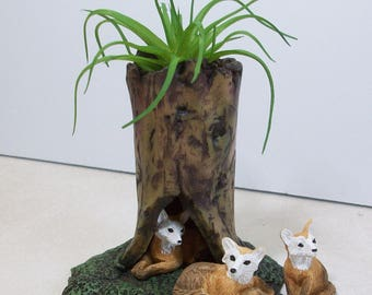 Miniature tree stump and foxes: Fairy garden or terrariums Polymer clay rustic tree stump