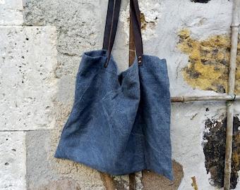 Tote bag blue grey naturally dyed rustic minimalist herb plant ethical leather straps handbag shoulder boho bohemian earthy yoga purses eco