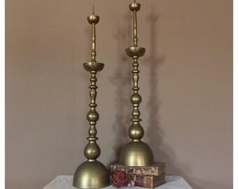 """36"""" Tall Floor Candlesticks/Fireplace Decor/Floor Candle Holder/Brass Candle Sticks/Brass Candle Holders/Wedding Candlesticks/Pillar Candle"""