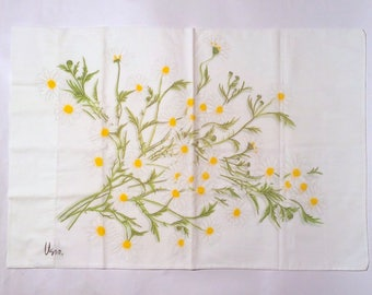 Vintage 1970s Vera Neumann Signed Daisy Floral White and Yellow Pillowcase/MCM/Super Soft