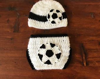 Soccer Diaper Cover and Beanie *Made to Order*