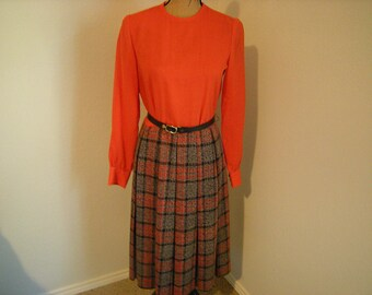 vintage dress-women dress-belted-classic-plaid skirt-long sleeves-orange top-polyester-acrylic-office wear-retro-