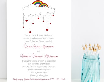 10 Rainbow Rehearsal Dinner Invitations - Cute Wedding Rehearsal Invitation