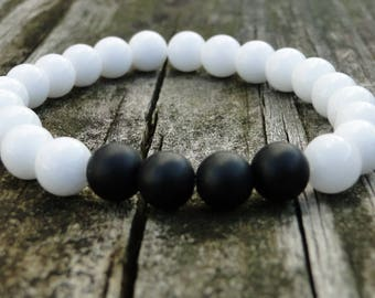 Black and White Onyx Bracelet | Mens Onyx Bracelet | Gemstone Bracelet | Womens Black and White | Yin and Yang | Onyx Beaded Bracelet