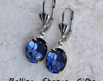 12x10mm Montana Blue Swarovski Oval Lever back Rhinestone Earrings- Crystal Dangle Rhinestone Earrings -Montana Blue