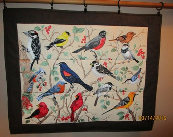 """Songbirds Wall Hanging - Machine Embroidered Tile Scene, Embroidered, Birds, Song Birds - approx 26"""" x 32"""""""