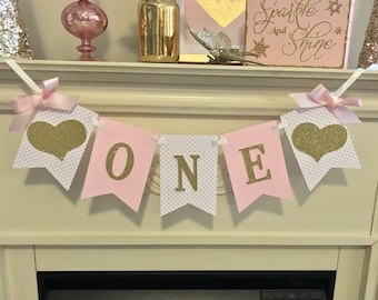 Pink and Gold HIGH CHAIR Banner. First Birthday Decorations. ONE High Chair Banner. First Birthday Party. First Birthday Girl