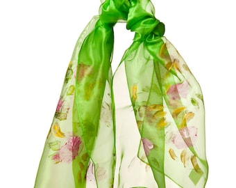 hand-painted green organza scarf