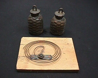 Vintage Pair of Acorn Weights for a Cuckoo Clock, along with the chime back plate