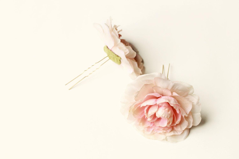Blush Pink Hair Flower Or Brooch Bridal Wedding: Blush Flower Hair Pins Pink Ranunculus Hair Clips Flower