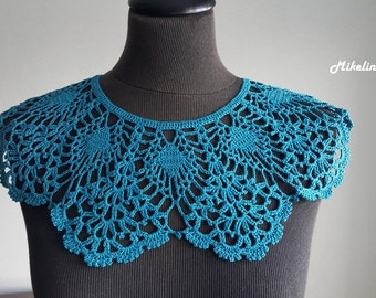 Handmade Crochet Collar, Neck Accessory, Biscay Bay Colour,Turquoise, 100% Cotton